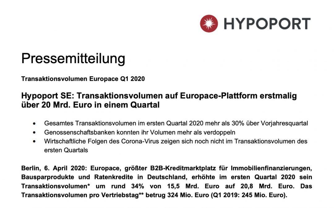 Hypoport SE: Transaktionsvolumen auf Europace-Plattform erstmalig über 20 Mrd. Euro in einem Quartal