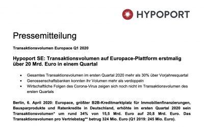 Pressemitteilung – Transaktionsvolumen auf Europace-Plattform erstmalig über 20 Mrd.