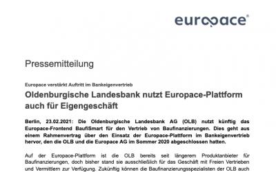 Oldenburgische Landesbank nutzt Europace-Plattform auch für Eigengeschäft