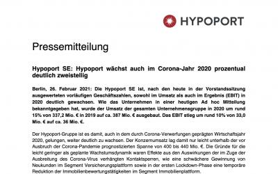 Pressemitteilung – Hypoport SE: Wachstum im Corona-Jahr 2020 prozentual deutlich zweistellig