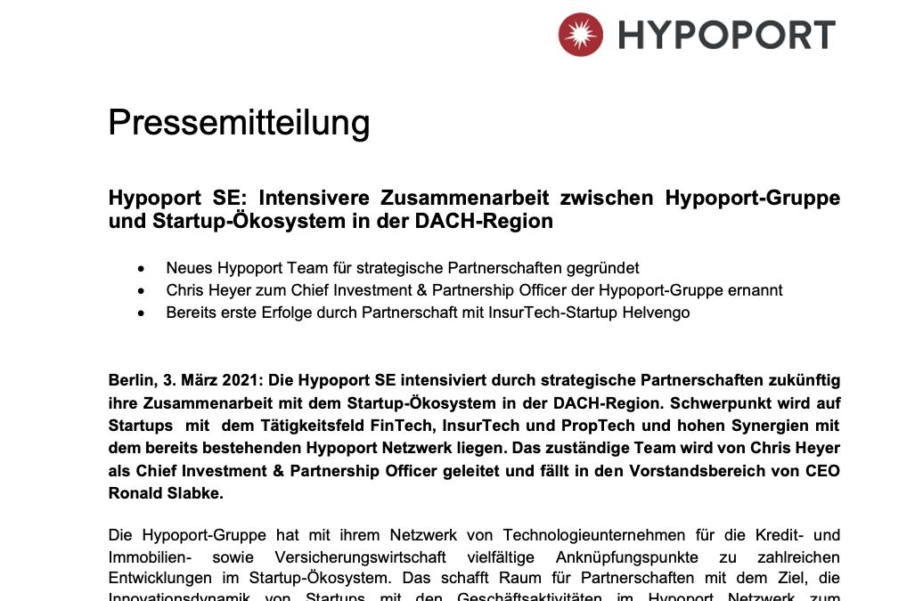 Pressemitteilung – Hypoport SE: Intensive Zusammenarbeit mit Startups
