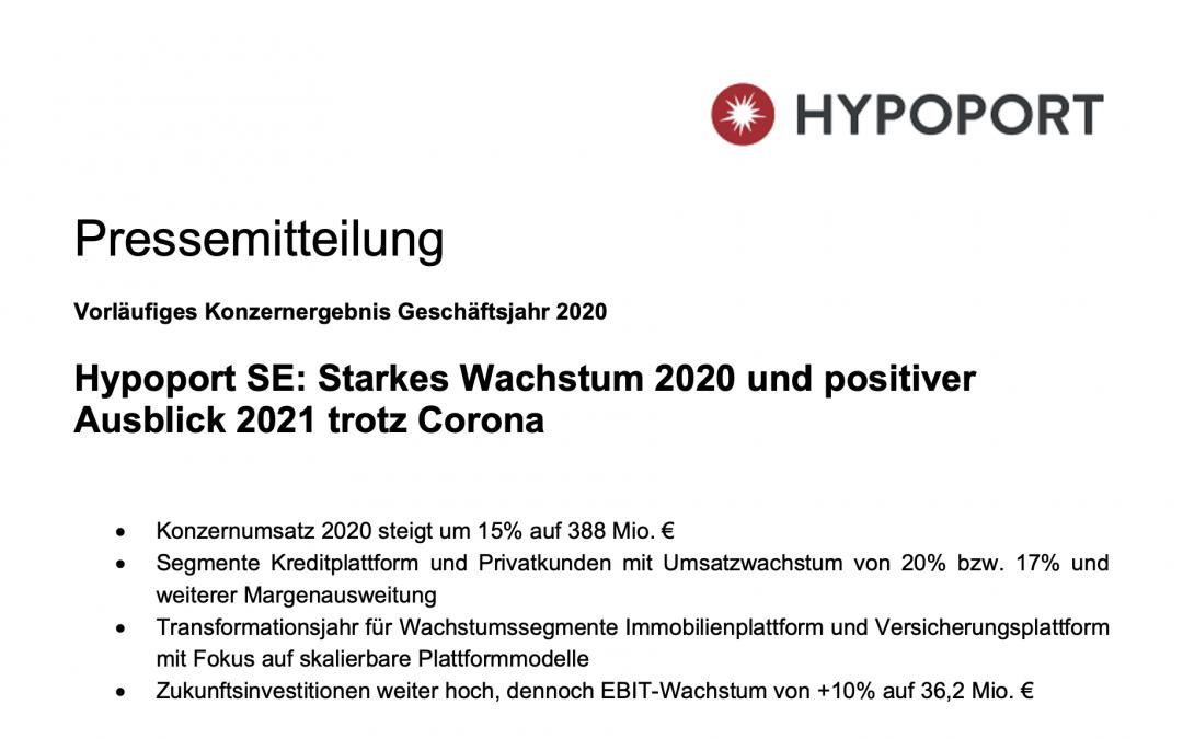 Pressemitteilung – Hypoport SE: Starkes Wachstum und positiver Ausblick
