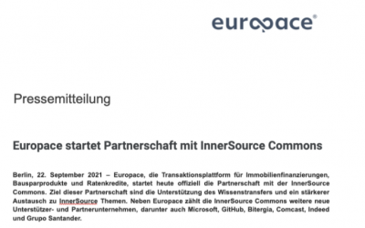 Pressemitteilung – Europace Partner InnerSource Commons
